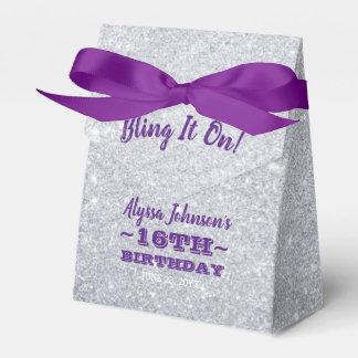 Caja Para Regalos Bling en la plata chispea el dulce púrpura 16