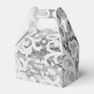 Caja Para Regalos Boda afiligranado del damasco del cordón del gris