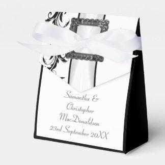 Caja Para Regalos Boda blanco y negro llano del cordón del damasco