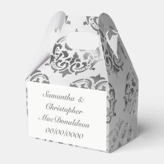 Caja Para Regalos Boda del modelo del damasco del gris de plata