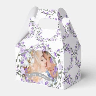 Caja Para Regalos Boda floral de la guirnalda del Peony púrpura