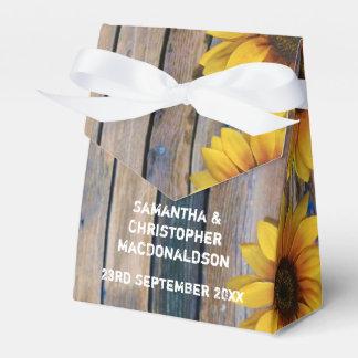 Caja Para Regalos Boda floral del país amarillo rústico del girasol