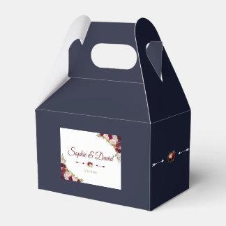 Caja Para Regalos Boda floral elegante de los azules marinos de la