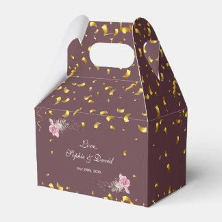 Caja Para Regalos Boda floral marrón del confeti del oro de Marsala