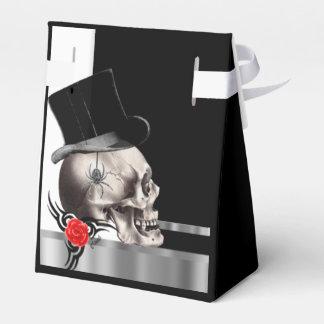 Caja Para Regalos Boda gótico blanco y negro del gótico del cráneo