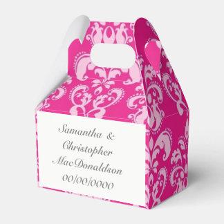 Caja Para Regalos Boda rosado brillante del damasco