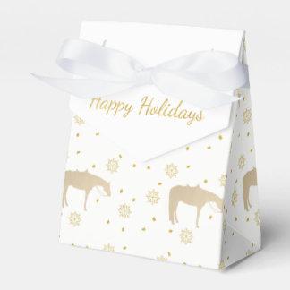 Caja Para Regalos Caballo occidental blanco del oro del pergamino