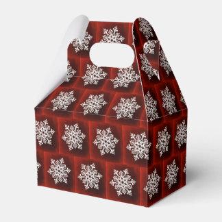 Caja Para Regalos Copo de nieve elegante blanco en rojo oscuro