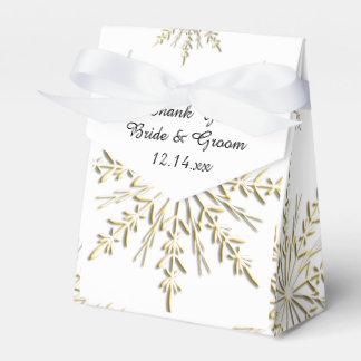 Caja Para Regalos Copos de nieve del oro en el boda blanco del