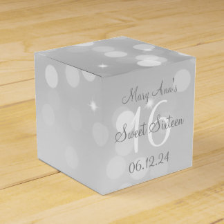 Caja Para Regalos Dulce luz de plata de la chispa de Bokeh de 16