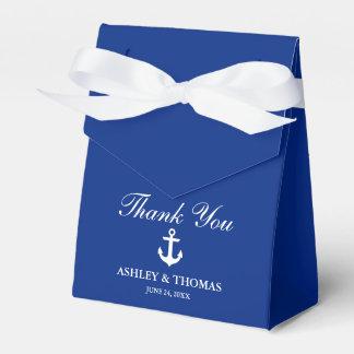 Caja Para Regalos El azul náutico del ancla del boda le agradece