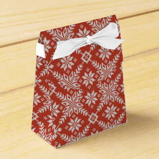 Caja Para Regalos Falsos copos de nieve rojos y blancos del suéter