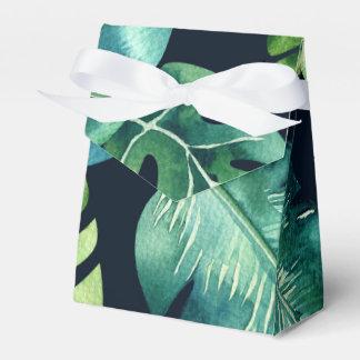 Caja Para Regalos Favor elegante del boda del negro tropical verde