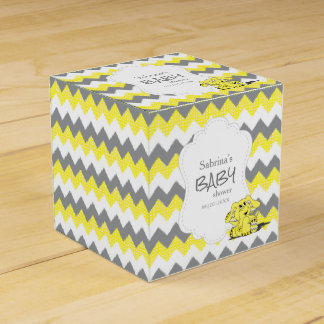Caja Para Regalos Fiesta de bienvenida al bebé amarilla y gris del