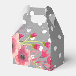 Caja Para Regalos Flores y encanto moderno lindo del lunar gris