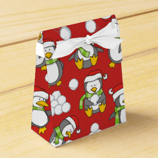 Caja Para Regalos Fondo de los pingüinos del navidad