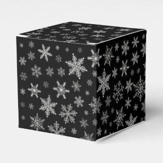 Caja Para Regalos Gris negro y de plata del copo de nieve moderno 2