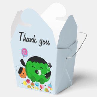 Caja Para Regalos Halloween adaptable - Frankenstein y caramelos