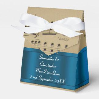 Caja Para Regalos Hoja de música elegante y boda azul