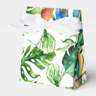 Caja Para Regalos Hojas y pájaros tropicales verdes que casan favor