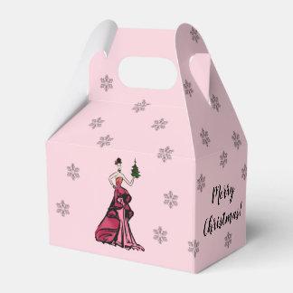 Caja Para Regalos Ilustracion de la moda del navidad con el árbol