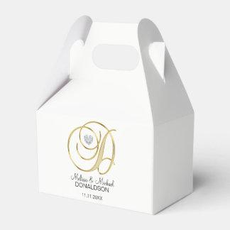 Caja Para Regalos Letra personalizada 'D del monograma del oro de la