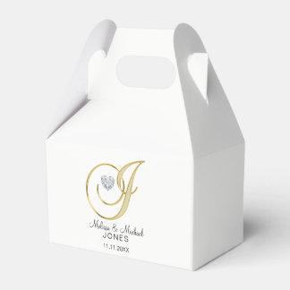 Caja Para Regalos Letra personalizada 'J del monograma del oro de la