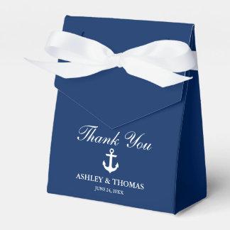 Caja Para Regalos Los azules marinos náuticos del ancla del boda le