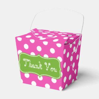 Caja Para Regalos Lunar rosado y blanco con el monograma verde de
