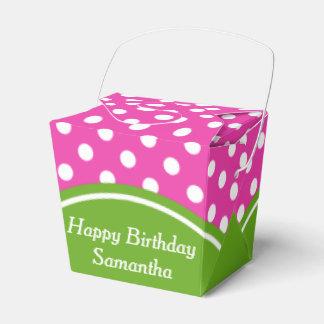 Caja Para Regalos Lunar rosado y verde del feliz cumpleaños