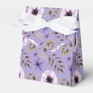 Caja Para Regalos Modelo botánico floral púrpura dibujado romántico