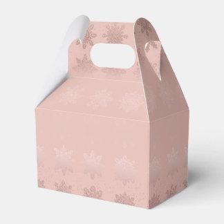 Caja Para Regalos Modelo subió copo de nieve elegante del oro del