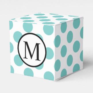 Caja Para Regalos Monograma simple con los lunares de la aguamarina