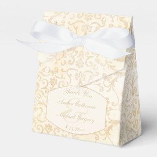 Caja Para Regalos Nata floral del damasco y boda beige