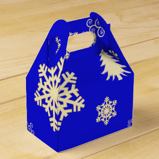 Caja Para Regalos Navidad azul con los copos de nieve poner crema