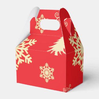 Caja Para Regalos Navidad rojo con los copos de nieve poner crema