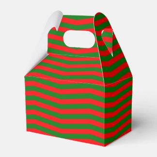 Caja Para Regalos Navidad rojo y rayas verdes del zigzag de Chevron