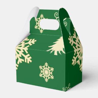 Caja Para Regalos Navidad verde con los copos de nieve poner crema