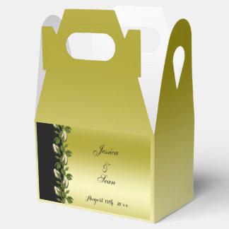 Caja Para Regalos Oro romántico floral elegante y boda negro