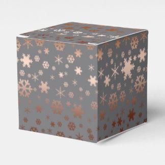 Caja Para Regalos Oro subió modelo elegante del copo de nieve del