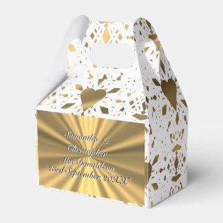 Caja Para Regalos Oro y boda blanco del corazón del cordón
