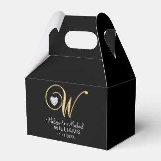 """Caja Para Regalos Regalo de boda negro elegante del monograma """"W"""""""