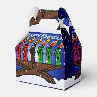 Caja Para Regalos Vela Kinara de Kwanzaa con nieve y el saludo