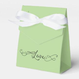 Caja Para Regalos Verde romántico con amor de la caligrafía