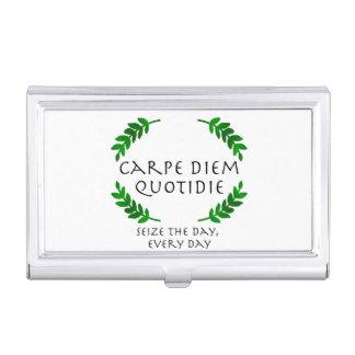 Caja Para Tarjetas De Visita Carpe Diem Quotidie - agarre el día, cada día
