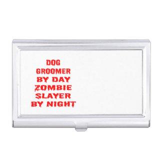 Caja Para Tarjetas De Visita Chiste del zombi del Groomer del perro