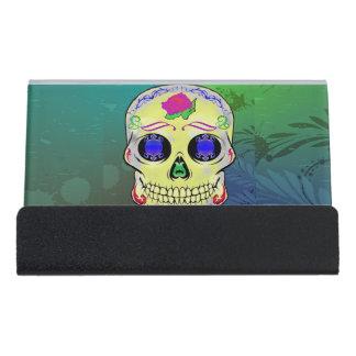 Caja Para Tarjetas De Visita Cráneo amarillo del azúcar con color de rosa