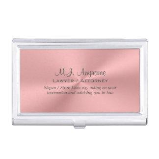 Caja Para Tarjetas De Visita Cromo-mirada de lujo del rosa color de rosa del