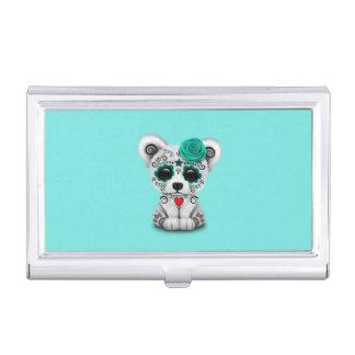 Caja Para Tarjetas De Visita Día azul del perro de perrito muerto del bebé