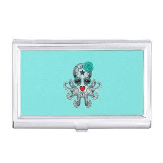 Caja Para Tarjetas De Visita Día azul del pulpo muerto del bebé